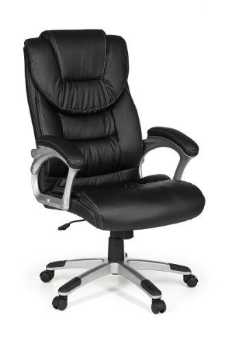 41+u9Jb5n8L - FineBuy Bürostuhl MADY Bezug Kunstleder Schwarz Schreibtischstuhl Design X-XL 120 kg Chefsessel Wippfunktion ergonomisch Polster Drehstuhl hohe Rücken-Lehne höhenverstellbar mit Armlehnen Hochlehner