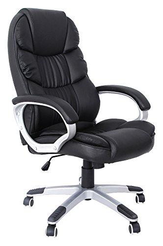 41w8+cojgOL - Songmics Bürostuhl mit hoher Rückenlehne Chefsessel Schreibtischstuhl höhenverstellung, Lederimitat, schwarz, 67 x 66 x 114 cm OBG24B