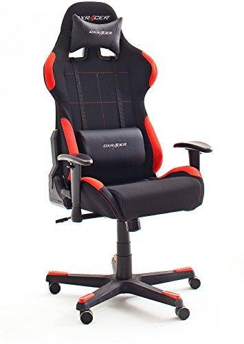 41zR+PF9SCL - Robas Lund DX Racer 1 Gamingstuhl, Schreibtischstuhl, Bürostuhl, 78 x 124-134 x 52 cm, schwarz/rot