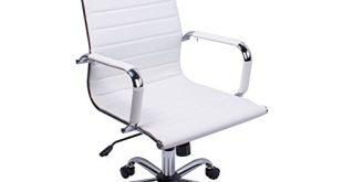Poptoy Hohe gebogen PU Leder Weiß Home Bürostuhl Chefsessel Computer Schreibtisch höhenverstellbar Drehstuhl weiß