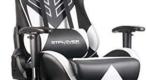 GTPLAYER Gaming Stuhl Bürostuhl Racing Stuhl Umt. Serie Drehstuhl Schreibtischstuhl Ergonomisches Design PU Leder Chefsessel Computer Stuhl mit Verstellbaren Kopfkissen und Lendenkissen(Weiß)