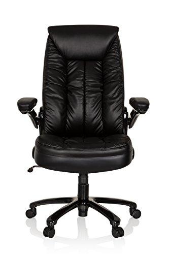 hjh OFFICE 736210 XXL Bürosessel Instructor II Leder Schwarz hochwertiger Drehstuhl bis 220 kg belastbar
